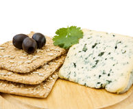 Blue cheese and crackers Royalty Free Stock Images