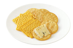 Blue Cheese and Crackers Royalty Free Stock Image