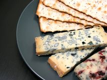 Blue cheese and crackers Stock Images