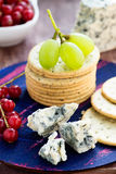 Blue cheese and crackers with fruits Stock Image