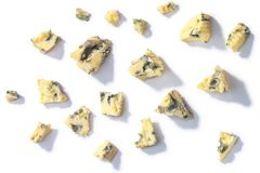 Blue cheese crumbles, top, paths royalty free stock photos