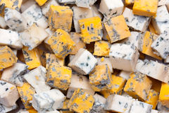 Blue cheese cubes. Stock Images