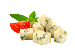 Blue cheese. Diced blue cheese isolated on white royalty free stock photo