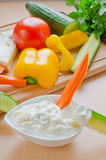 Blue cheese dip. Homemade blue cheese (gorgonzola) dip with raw vegetables stock photography