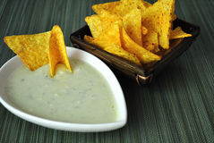 Blue cheese dip with tortillas. Tasty, healthy blue cheese dip with tortillas Stock Images