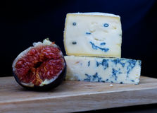 Blue cheese and figs Royalty Free Stock Images