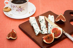 Blue cheese and fresh figs Stock Images