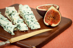 Blue cheese and fresh figs Stock Image