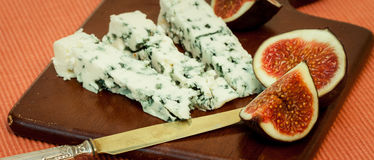Blue cheese and fresh figs Stock Photo