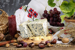 Blue Cheese, Fruits And Objects Royalty Free Stock Photo
