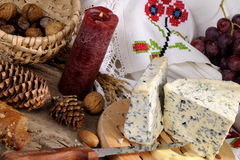 Blue cheese, fruits and objects isolated Royalty Free Stock Photos