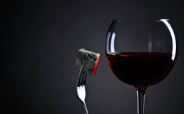 Blue cheese and glass of red wine . Royalty Free Stock Photo