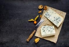 Blue Cheese Gorgonzola on Copy Space Royalty Free Stock Photos