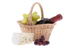 Blue cheese with grapes Stock Photography