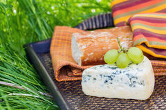 Blue cheese with grapes Stock Photo