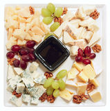 Blue cheese with grapes and nuts Royalty Free Stock Images