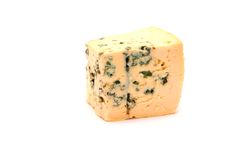 Blue cheese isolated. On the white background Royalty Free Stock Photography