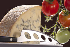 Blue cheese and knife Stock Photos