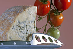 Blue cheese and knife Royalty Free Stock Photos