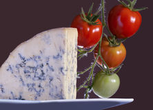 Blue cheese and knife Stock Images