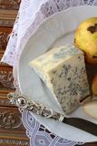 Blue cheese and pears on a vintage Stock Image