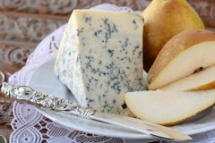 Blue cheese and pears on a vintage Royalty Free Stock Images
