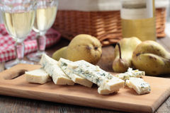 Blue cheese, pears, and wine Royalty Free Stock Photo