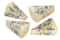 Blue cheese pieces, paths stock photo