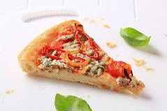 Blue cheese pizza with strips of pepper on top Royalty Free Stock Photos