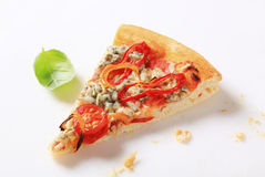 Blue cheese pizza with strips of pepper on top Stock Photo