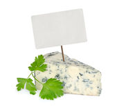 Blue cheese with price tag Stock Photo