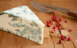 Blue cheese and red pepper Stock Images
