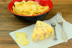 Blue Cheese Roquefort on Wooden Plate Stock Photo