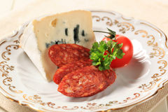 Blue cheese and sausage Royalty Free Stock Photos