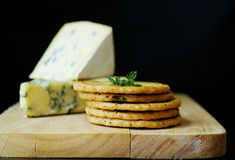 Blue cheese selection with crackers Stock Photos