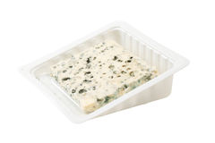 Blue cheese slice isolated. On white Stock Images