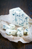 Blue cheese on slices of brokenness Stock Image