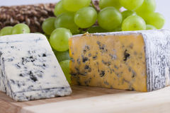 Blue cheese. Slices composition with some food ingredients stock photo