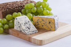 Blue cheese. Slices composition with some food ingredients stock image