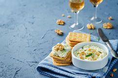 Blue cheese spread with walnuts Royalty Free Stock Photos