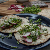 Blue Cheese Steak Tacos. With radish on a flour tortilla Stock Photography