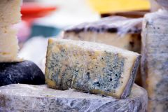 Blue cheese on a street food fastival stock photos