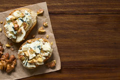 Blue Cheese and Walnut Canape Stock Image