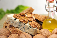 Blue cheese with walnuts Royalty Free Stock Photos