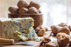 Blue cheese and walnuts with figs Stock Image