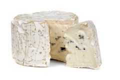 Blue Cheese. With wedge cut, on white background royalty free stock images