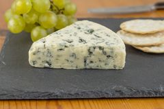 Blue cheese wedge on slate board close up with defocused green g royalty free stock photos
