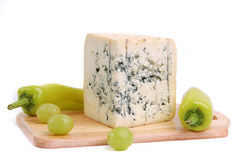 Blue cheese on the white background Stock Photo