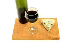 Blue Cheese and Wine. Royalty Free Stock Photography