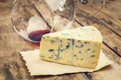 Blue cheese with wine glass Royalty Free Stock Photo
